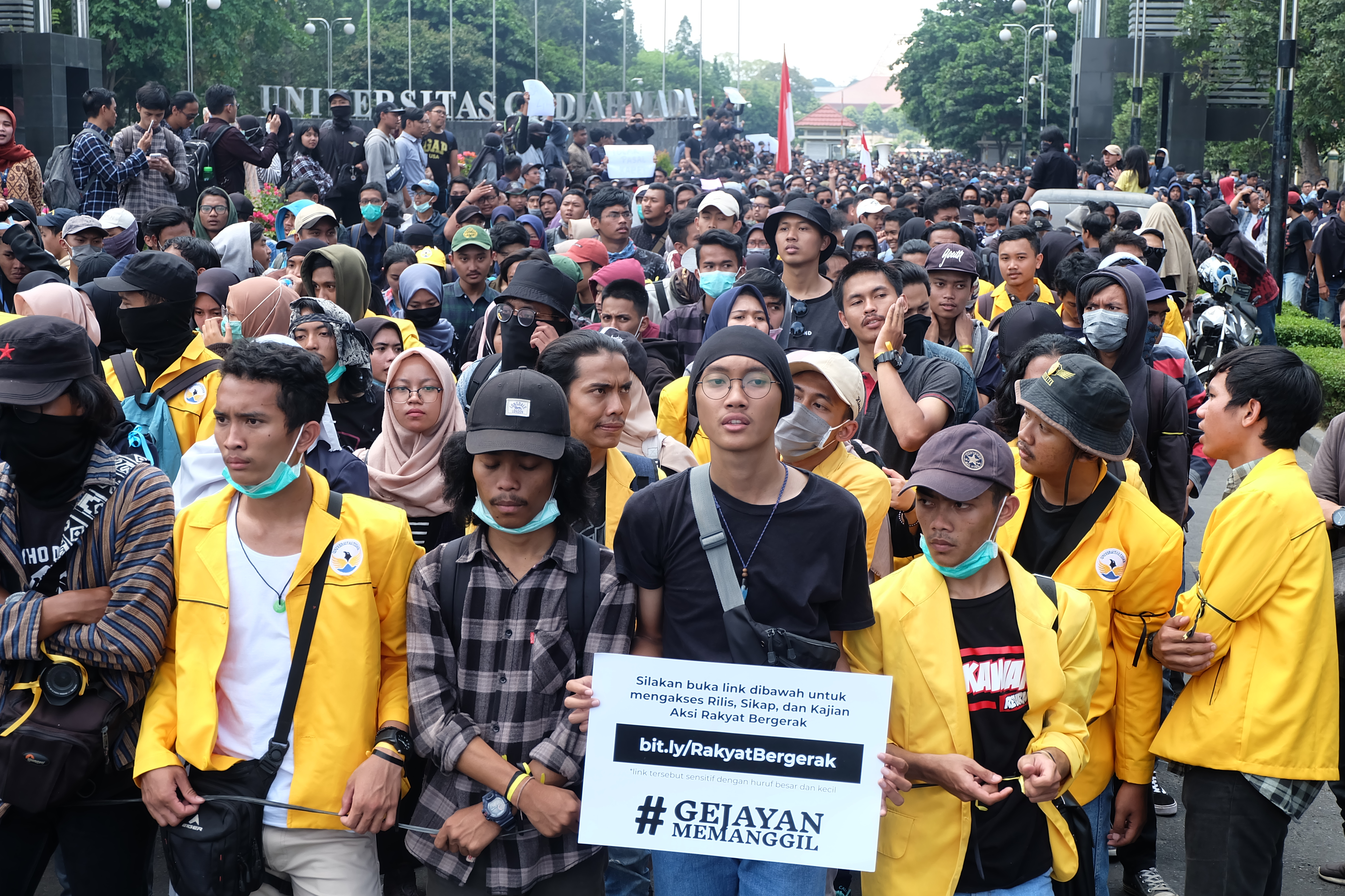 Demonstration of students from various universities who rejected the policies of the government that could cripple democracy in Indonesia. Yogyakarta, Indonesia. 23 September 2019. Editorial credit: Rongaphotography / Shutterstock.com