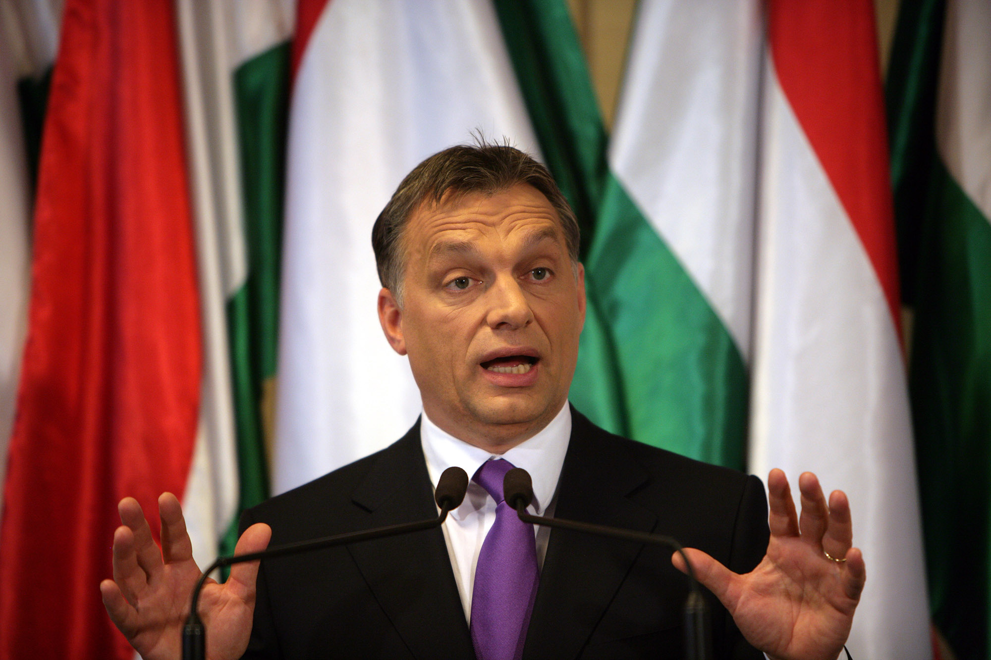 Hungarian flag background with Viktor Orban