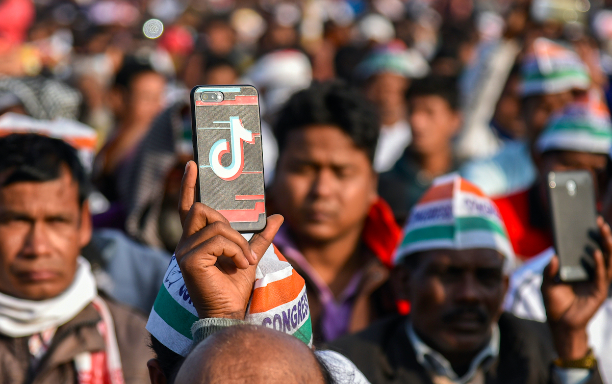 India TikTok phone case at protest