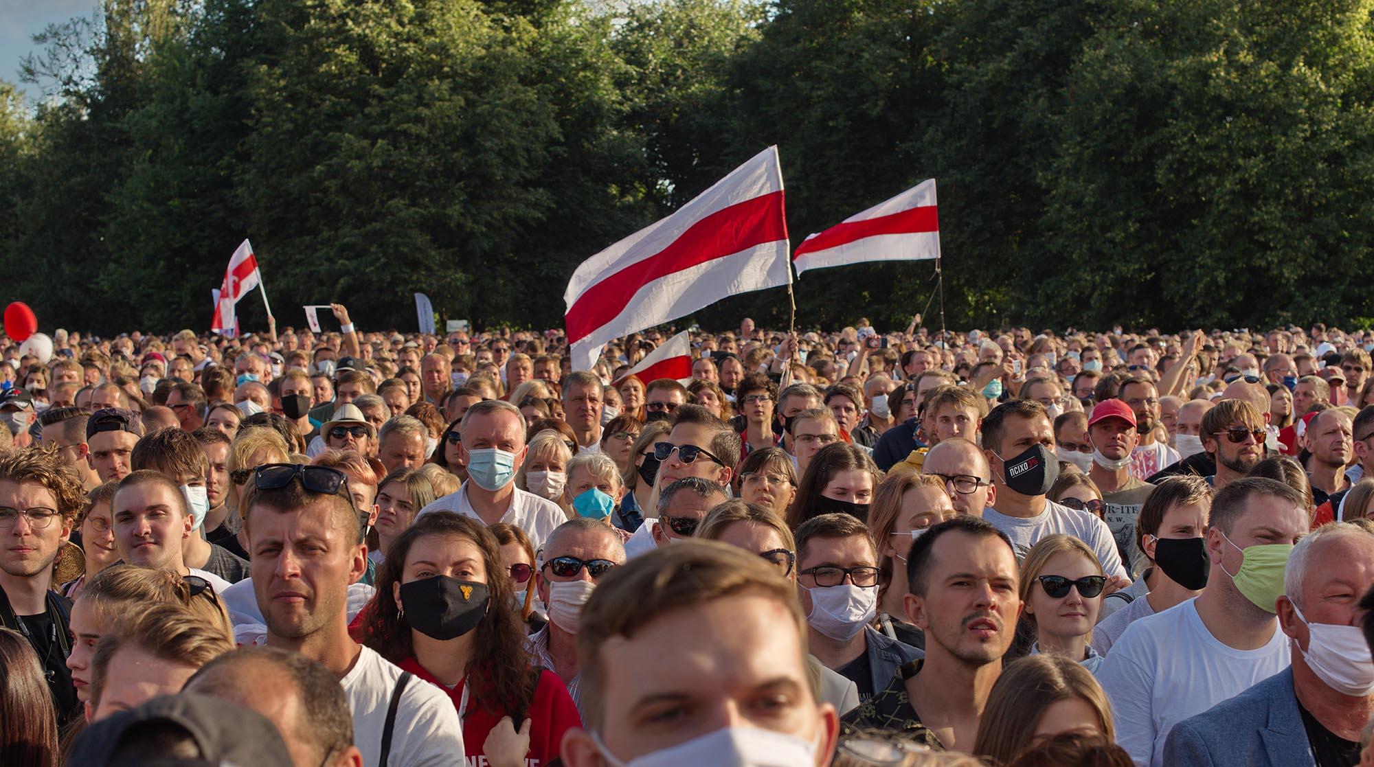 Belarusian people flocked to attend a pre-election rally for opposition candidate Svetlana Tikhanovskaya in Minsk in July 2020. Credit:  Svetlana Turchenick/Shutterstock.com.