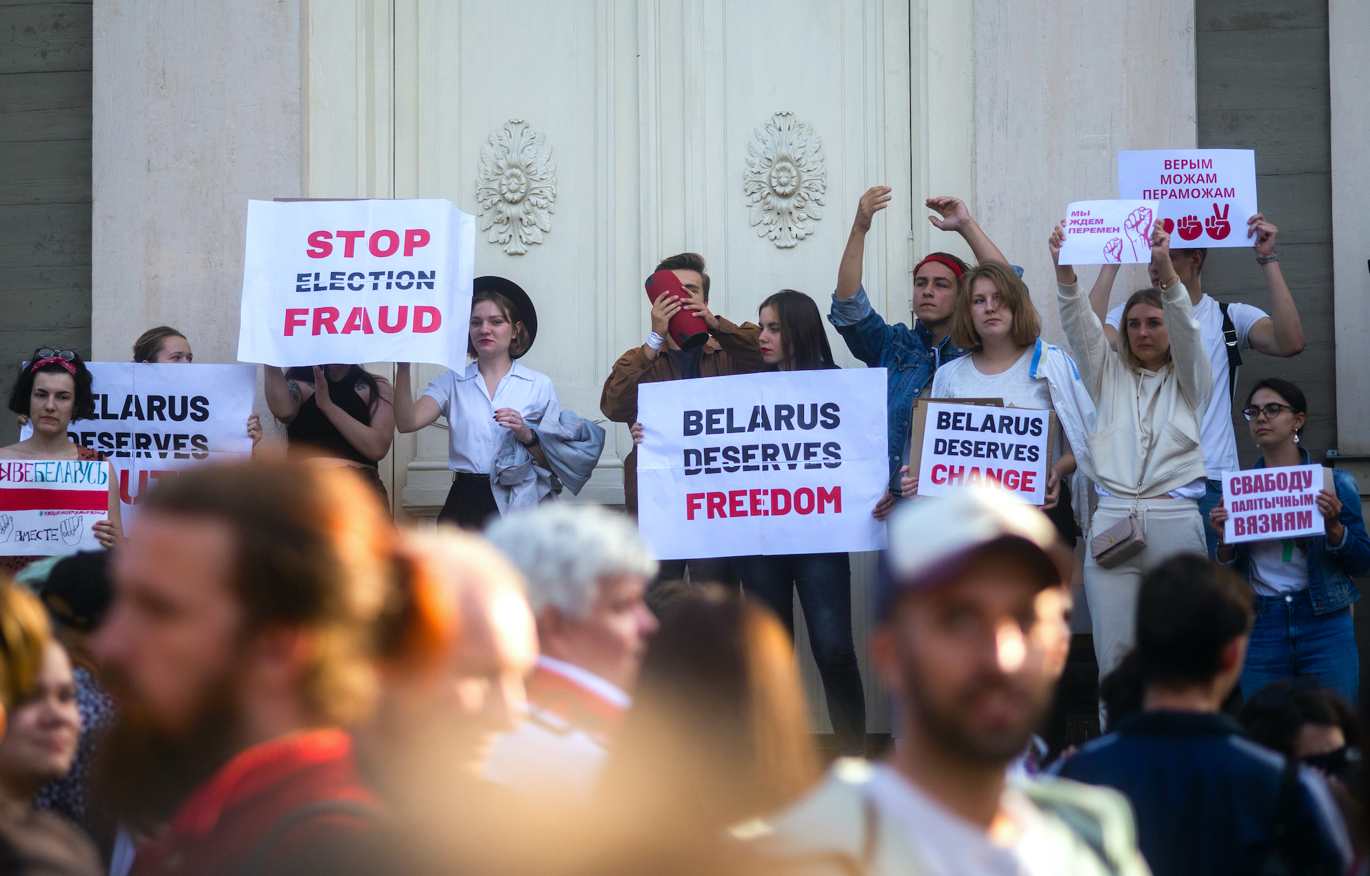 Protesters gather in Riga, Latvia to show solidarity with the people of Belarus in August 2020. (Image credit: Girts Ragelis / Shutterstock.com)