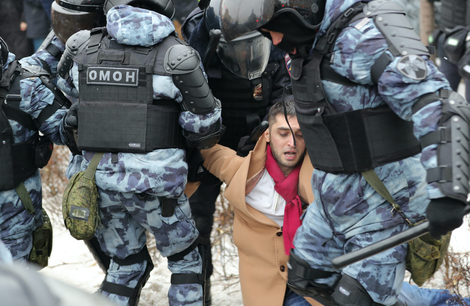 Police forcefully detain a protester in Moscow, Russia in January 2021. (Image credit: Ruslan Kroshkin / Shutterstock.com)
