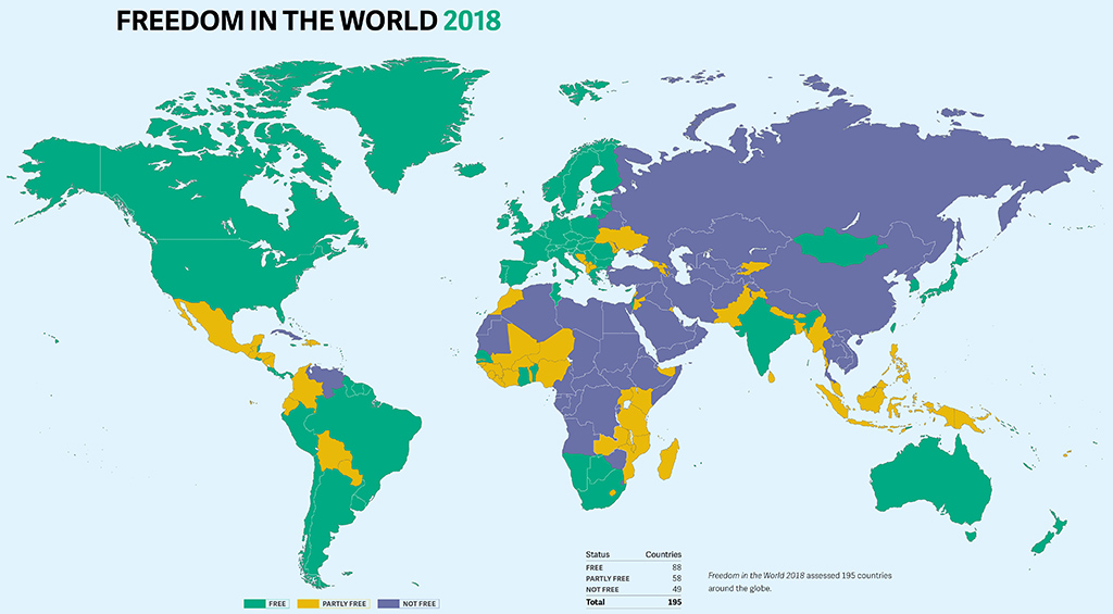 Free Map Of The World Showing Countries.Freedom In The World 2018 Freedom House