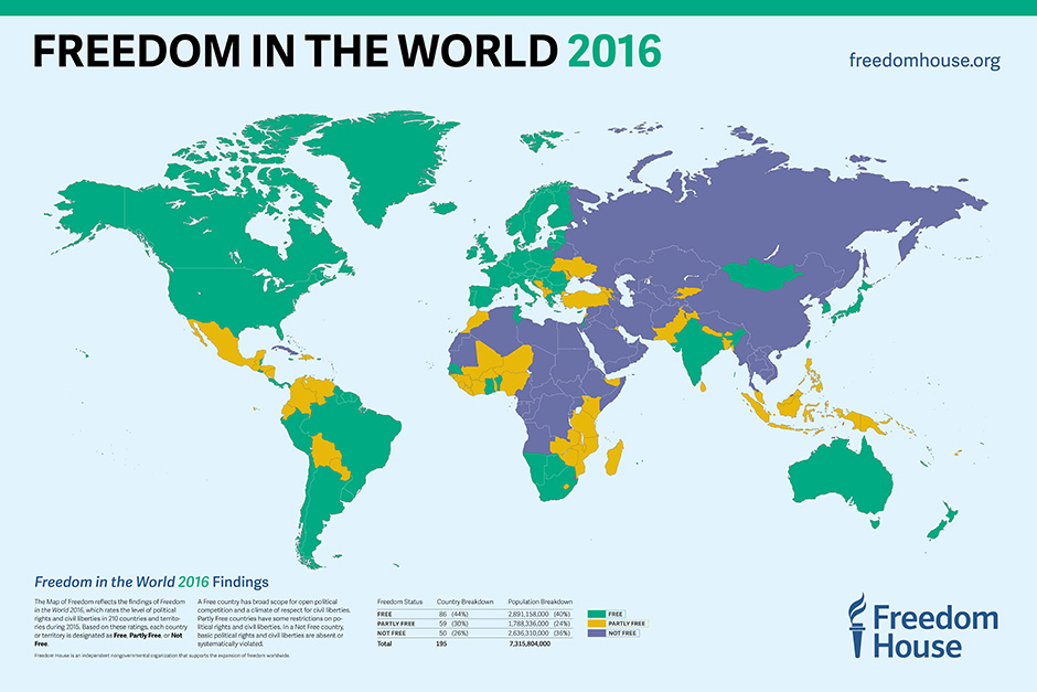 Maps Graphics Freedom House - World map of countries