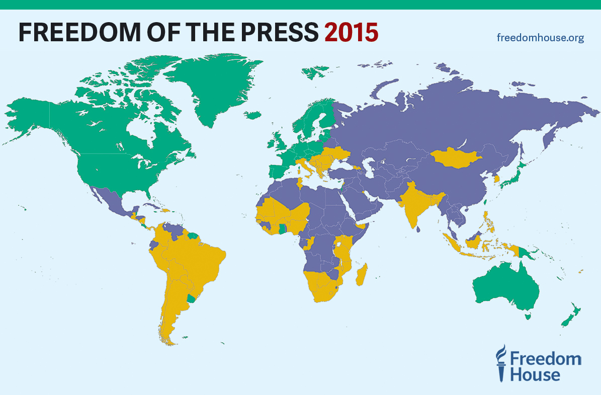 freedom of the press 2015 global map of press freedom