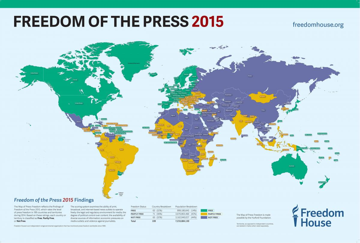 freedom of the press 2015 map of press freedom