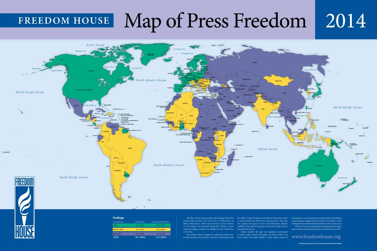 Map Of Press Freedom Freedom House - Map of or