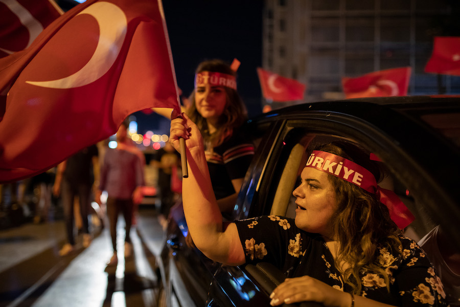 People celebrate the victory of the mayoral election in Istanbul.