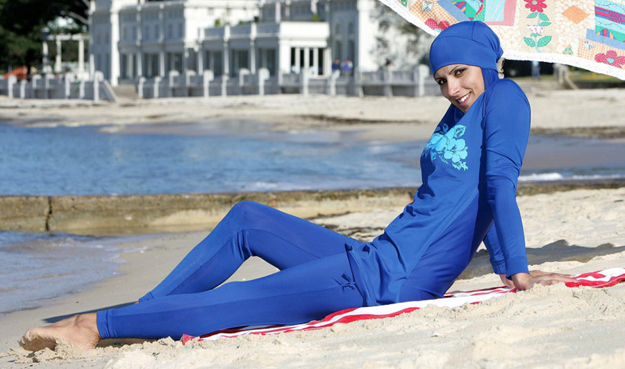 woman in blue burkini swim suit
