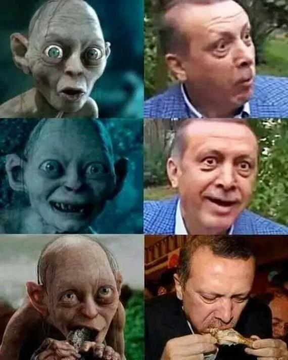 A Turkish man was handed a one-year suspended sentence for this meme juxtaposing President Reçep Tayyip Erdogan and a character from the Lord of the Rings films. In determining whether or not the image insulted the president, the judge assembled a panel of film experts. Another user is facing up to two years in prison for reposting the same memes. Freedomonthenet.org