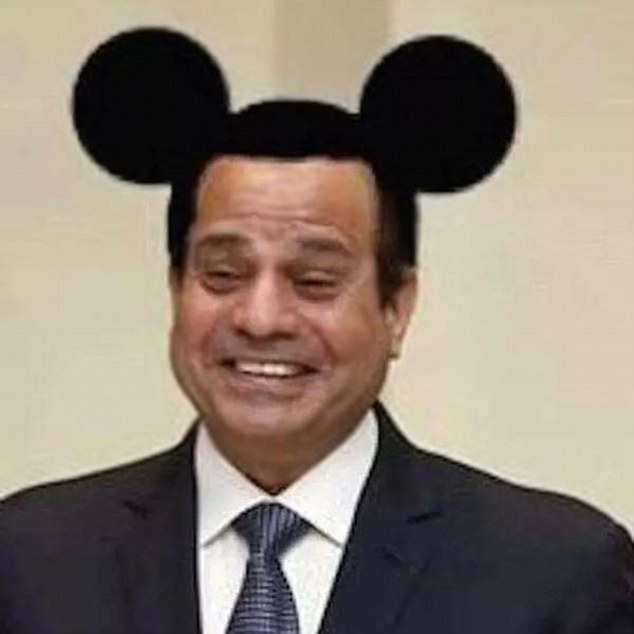 A 22 year-old student in Egypt was sentenced to three years in prison for posting this photo depicting President Abdel Fattah al-Sisi with Mickey Mouse ears on Facebook. Freedomonthenet.org.
