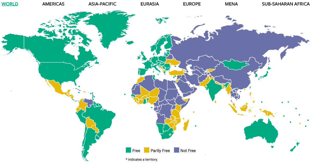 About Freedom In The World Freedom House - World map map