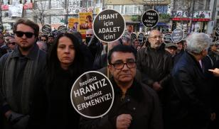 Protestors commemorate journalist Hrant Dink on the 11th anniversary of his assassination. Istanbul, Turkey. 19 January 2018. Editorial credit: Bilal Seckin / Shutterstock.com
