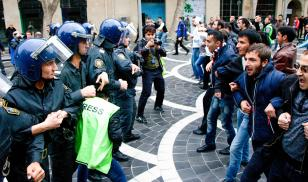 Azerbaijan protesters and police