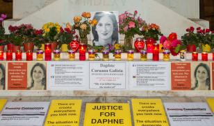 Memorial to murdered journalist Daphne Carunana Galizia. Valletta, Malta. 16 November 2019. Editorial credit: Paul Mendoza / Shutterstock.com