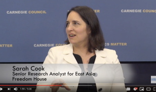 Sarah Cook video screenshot at Carnegie Council event Uighur genocide