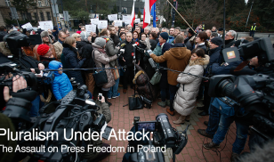 Members of the opposition hold a press conference outside the Polish parliament after lawmakers blocked a budget proposal that included limits on access to free information and politicians' media access. (Photo by Jaap Arriens/NurPhoto via Getty Images)
