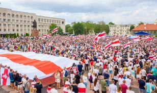 A peaceful demonstration in Belarus voices concern over the recent presidential election.