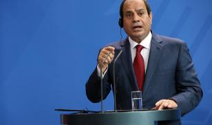 Egyptian president Abdel Fattah al-Sisi makes a speech