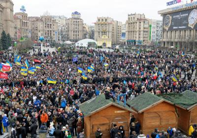 Huge crowd of people gathered on the square, mass demonstration. Revolution of Dignity, Majdan Nezalezhnosti. Kiev, Ukraine. 1 December 2013.  Editorial credit:  Krysja / Shutterstock.com