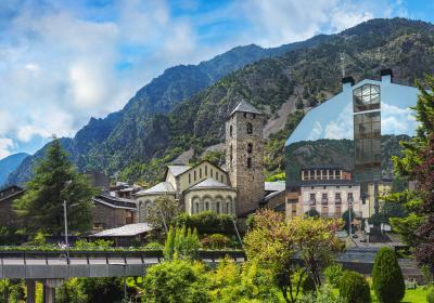 The Sant Esteve church in Andorra, with a background view of the Pyrenees Mountains. Editorial credit: Repina Valeriya / Shutterstock.com.