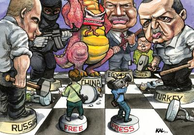 Cartoon by KAL shows journalists represented as chess pieces battling against russia and turkey