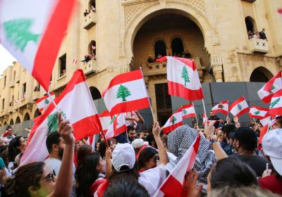 Lebanese Protesters against the current government and corruption. Riad El Soleh-Beirut, Lebanon. 19 October 2019. Editorial credit: Hiba Al Kallas / Shutterstock.com
