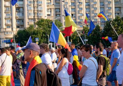 Thousands of people marching on the streets of the Capital, Bucharest, to protest against allegations of on-going corruption within the government of Romania. Bucharest, Romania. 10 August 2019. Editorial credit:  jean-francois me / Shutterstock.com