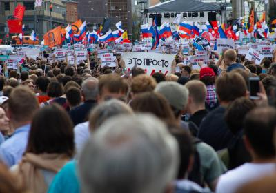Protest rally of the Russian opposition demanding to allow independent candidates for the elections. Moscow, Russia. 20 July 2019. Editorial credit:  KOZYREV OLEG / Shutterstock.com