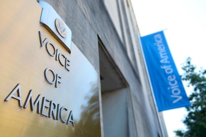 Voice of America US sign